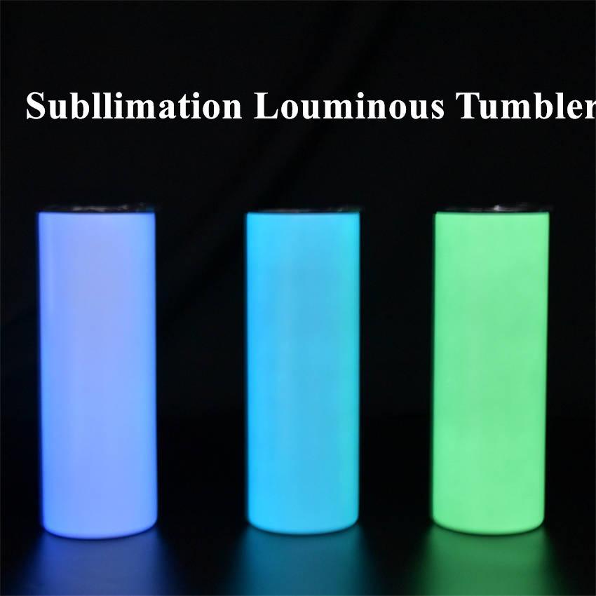 20oz luminous tumblers sublimação branco copo de aço inoxidável copo de aço inoxidável caneca de café Garrafa de água portátil com palha clara A02