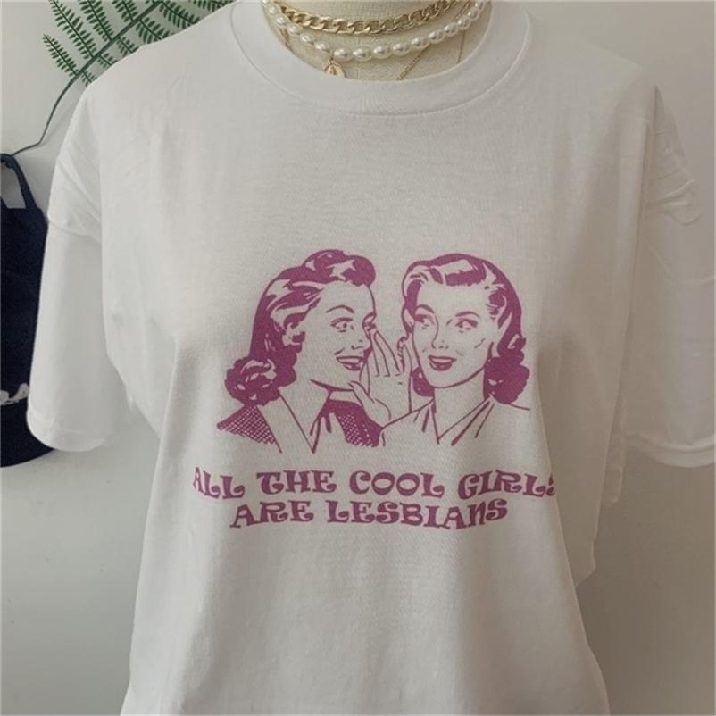 JBH-جميع الفتيات بارد هي مثليات تي شيرت النساء الرجال للجنسين مضحك الجرافيك تيز الصيف نمط تي شيرت الأزياء الزى قمم ملابس 210320