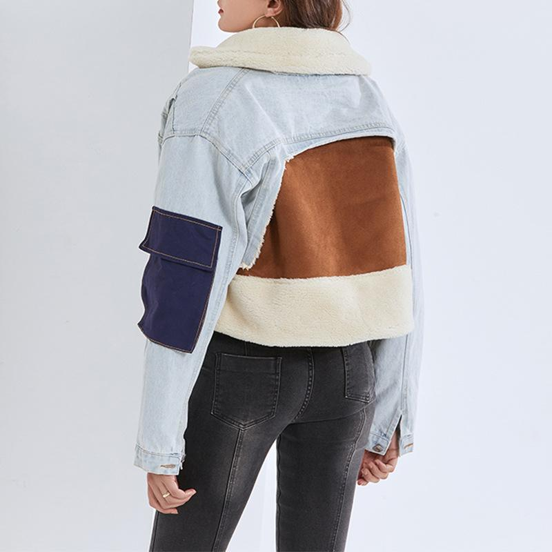 Casaco de lã de cordeiro 2021 inverno nova moda cor contraste costura solta densas denim casual womens top