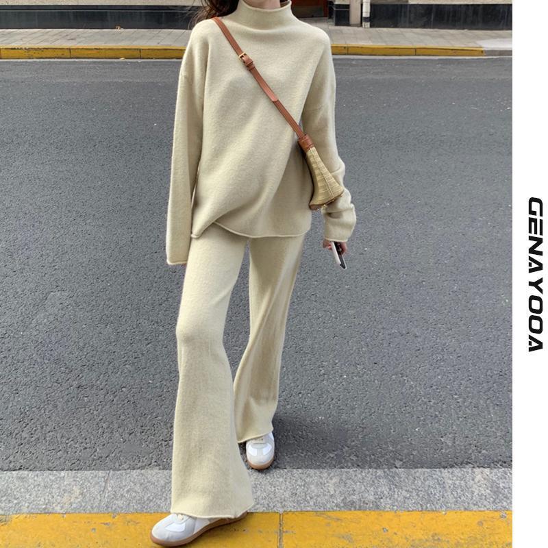 Trendy Kedd Tracksuits Femenino Outwear Primavera Invierno 2 pieza Set Mujer Pullover Turtleneck Suéter Dos 2021 Coreano Sports Traje