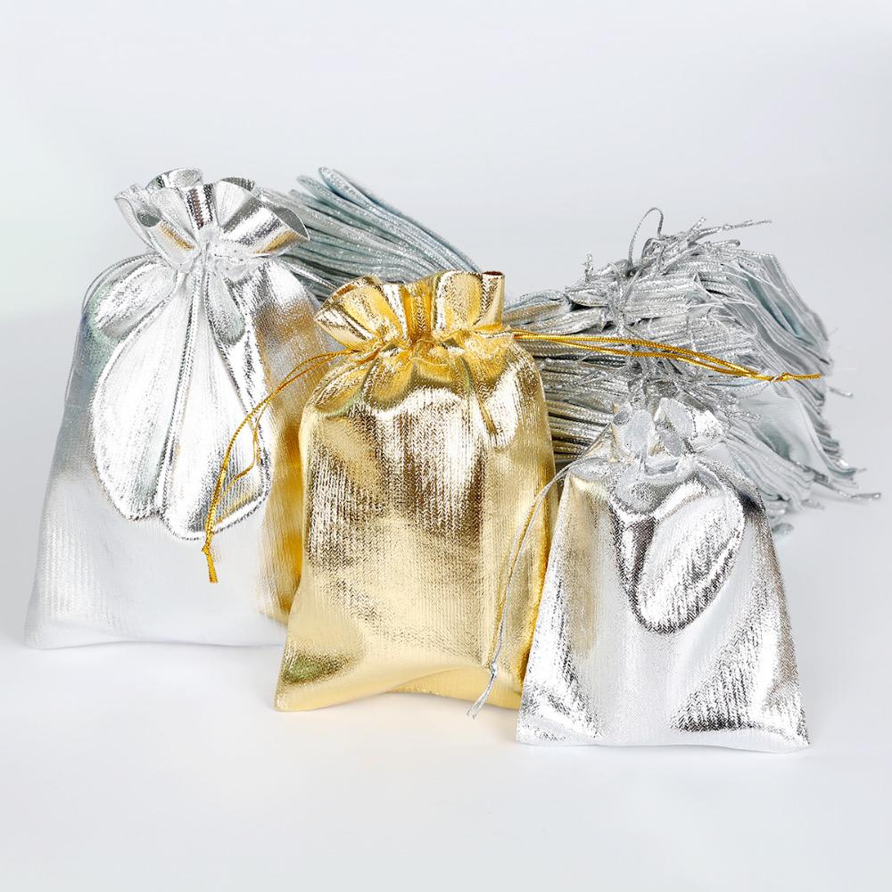 Event Party Supplies 50pcs/lot Gold Sliver Foil Organza Bag Jewelry Packaging Christmas Decoration Wedding Favor Pouch Drawstring Gift Bags
