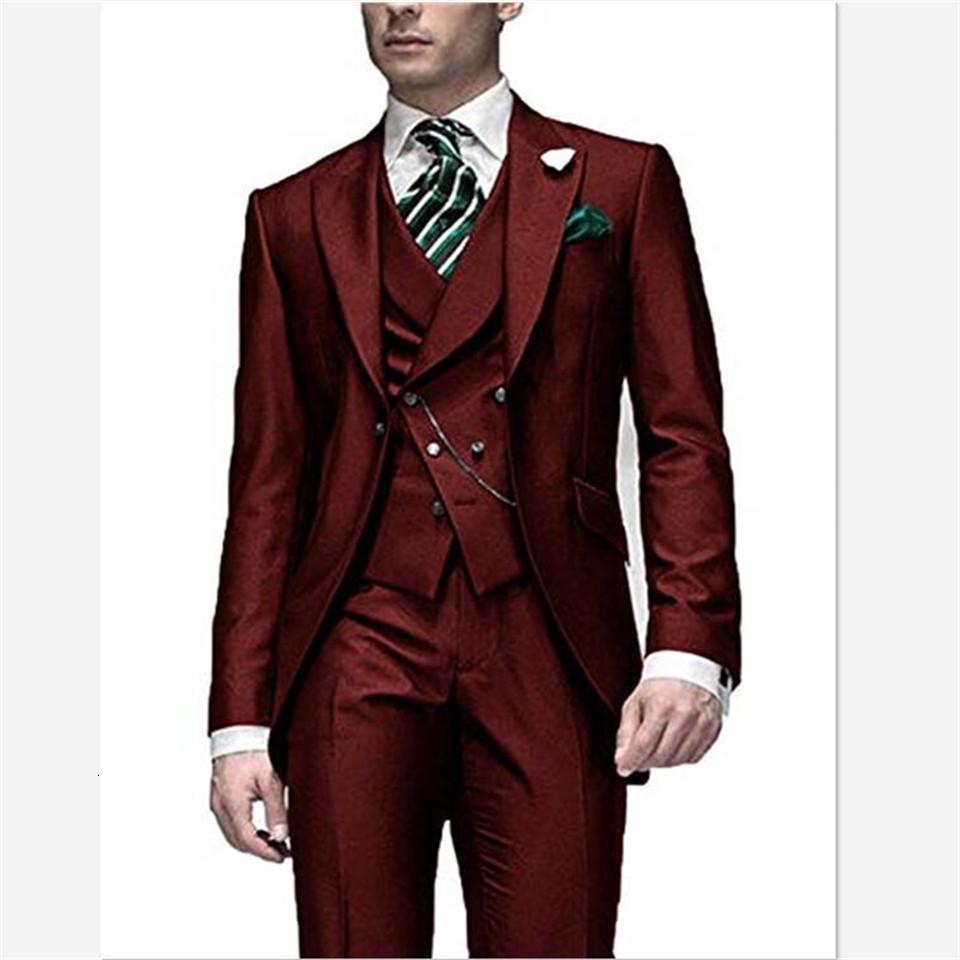 Мужские костюмы Blazers Slim Fit Мужские костюмы дизайнер Формальное платье вечеринка свадьба смокинг костюм Homme мужской 3 шт (куртка + брюки + жилет)