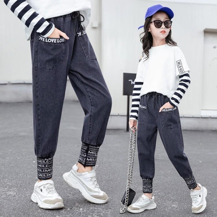 Mädchen Jeans Frühling und 2021 Neue koreanische Zhongda Herbst-Außenstil Kinderhose für Frauen