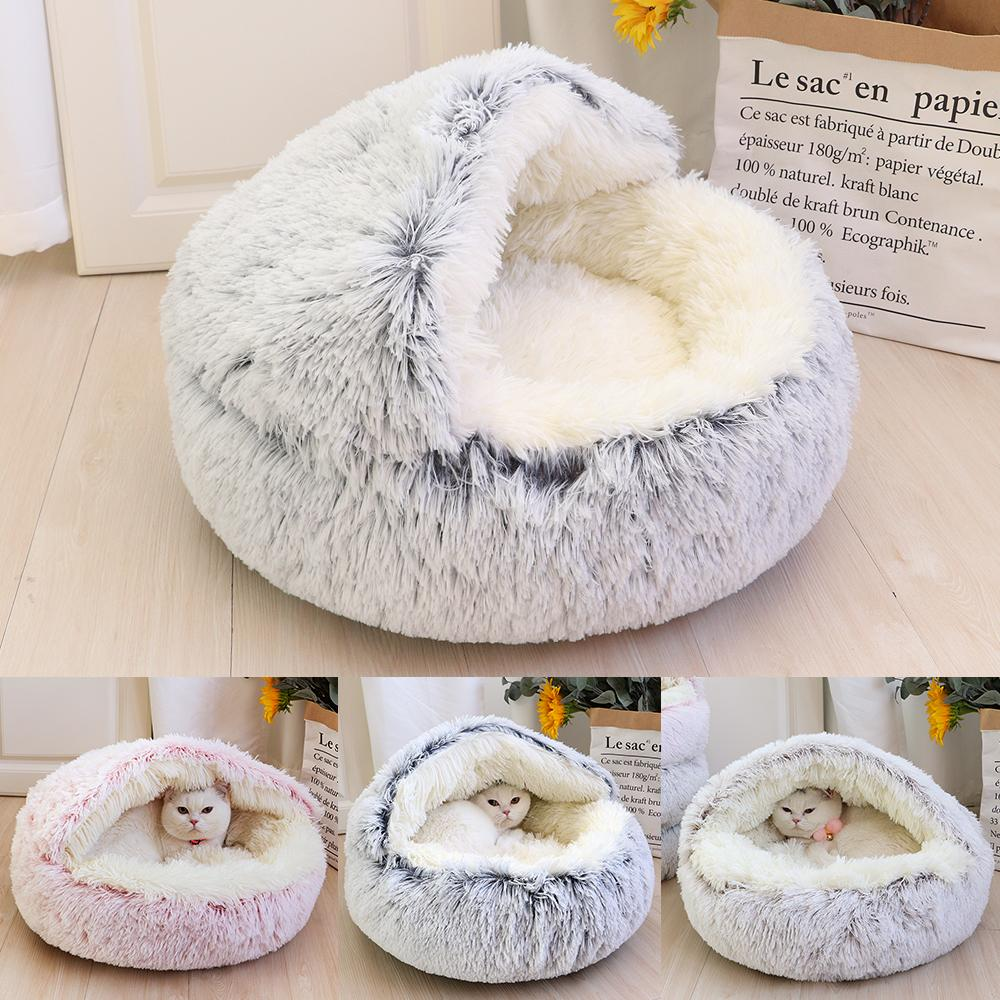 Süper Yumuşak Kedi Yatak Evi Sıcak Kış Yavru Uyku Yatakları Yuva Uzun Peluş Yavru Yuvarlak Kanepe Küçük Köpekler Kennel Anti Kayma