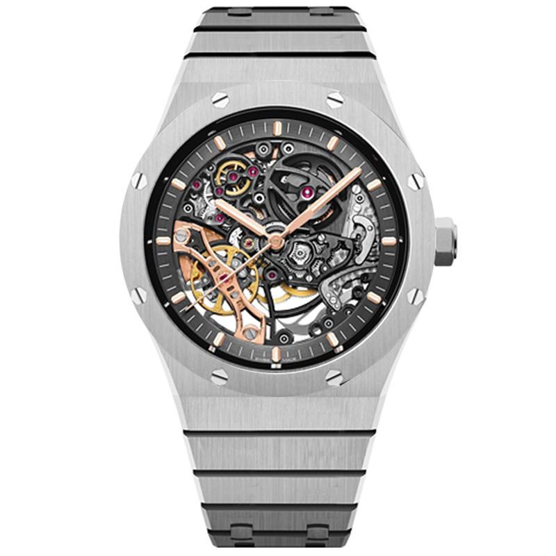 2021 homens assistir relógios de oco mecânicos automáticos estilo clássico 42mm completo aço inoxidável 5 caixa eletrônico impermeável safira super luminoso u1 relógio