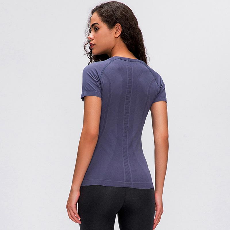 2020 الربيع والصيف الجديدة السيدات قصيرة الأكمام جولة الرقبة الرياضية تي شيرت الجري اللياقة البدنية قميص ضئيلة تنفس اليوغا قصيرة الأكمام L-028