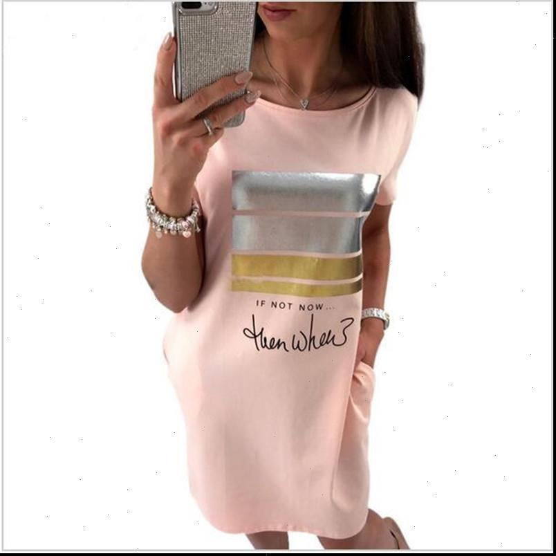 Donne vestito estate moda casual carino carino manica corta lettera stampa bronzing abiti allentati plus size long t vestido