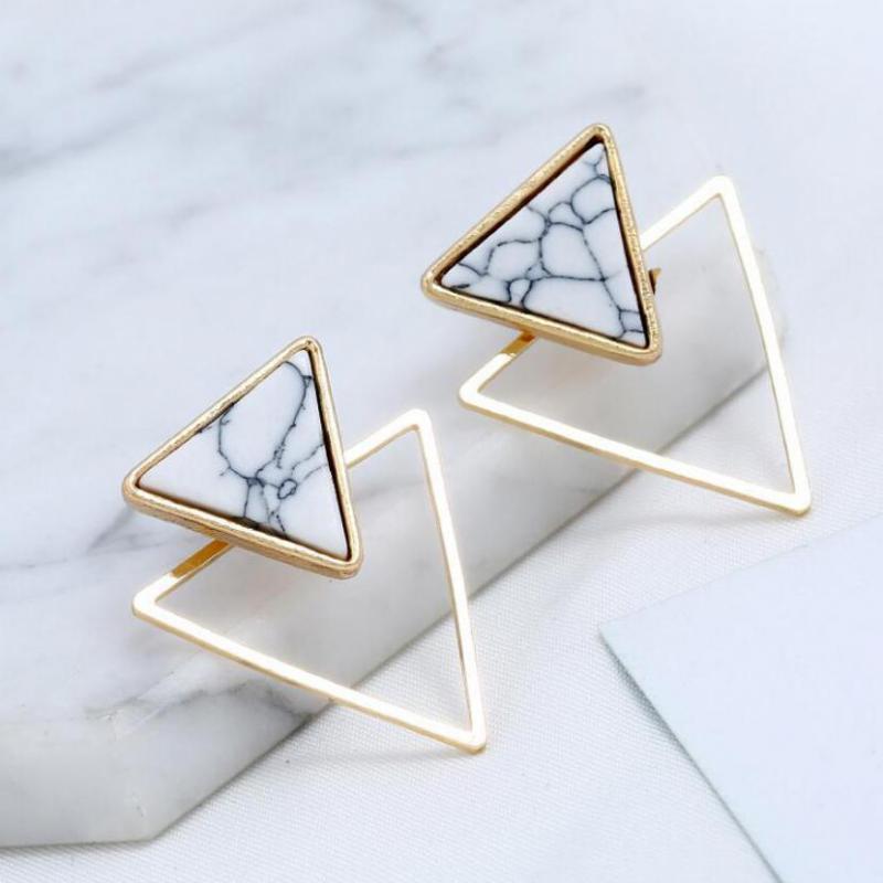 Дикие женские треугольники Серьги оптом Геометрический Мраморный Шпильки Для Женщин Золотые Цветовые Серы Серья Ювелирные Изделия Oorbellen
