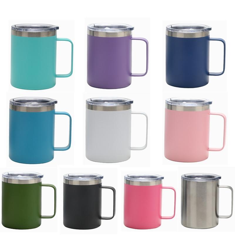 12oz tazza con manico in acciaio inox isolamento ufficio tumbler ghiaccio tiranno caffè tazze di birra e coperchio da viaggio succo di viaggio OWB7935