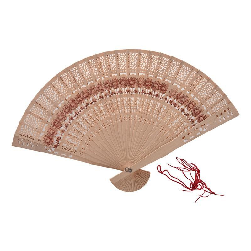 Other Home Decor Folding Wooden Carved Sunflower Print Fragrant Hand Fan