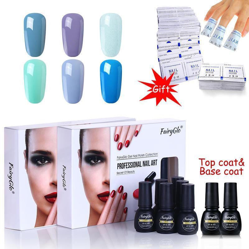 Nail Art Kits FairyGlo 8pcs 7ml Gel Polish Set With 50pcs Remover Wraps Manicure Soak Off UV LED Varnish Primer
