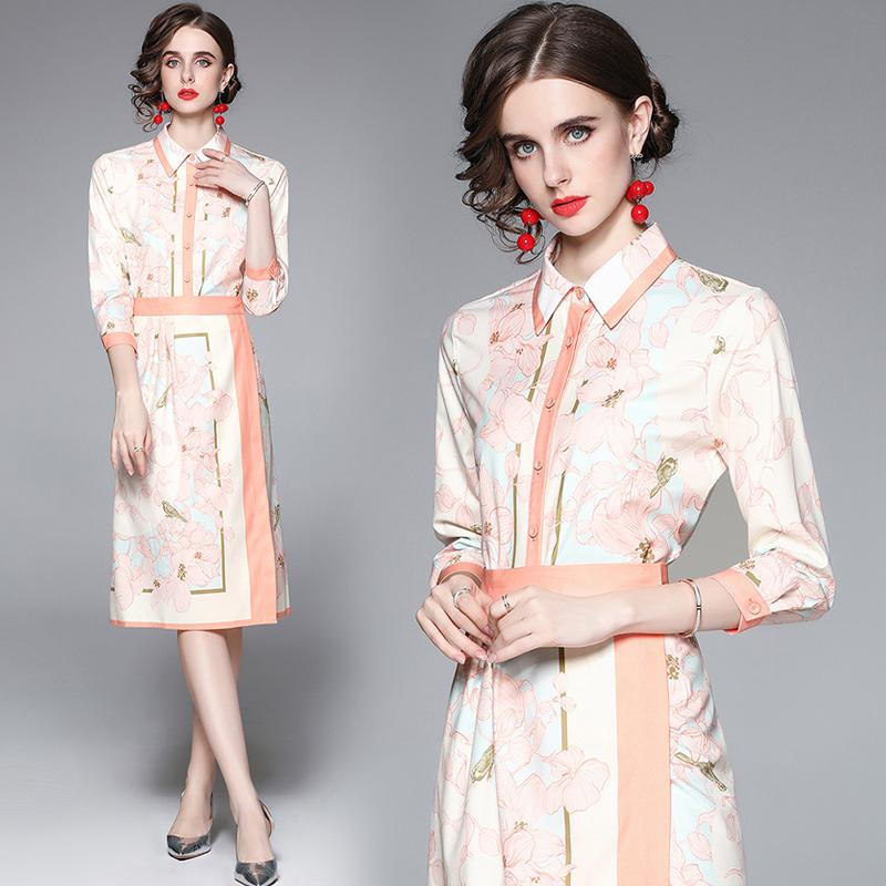 Boutique Womens Printed Set Shirt+skirt 3/4 Sleeve Lapel OL Two Piece Set 2021 Summer Autumn Blouse Skirt High-end Lady Suits