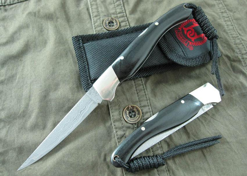 High End Damascus Steel Pocket Knife Rara Ebony Handle 58hrc Blade Utomhus Camping Vandring Överlevnad Knivar Knivar