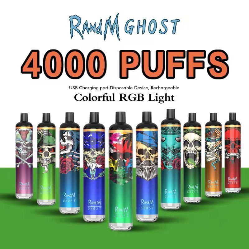 Randm Ghost-Einweg-Pod-Zigaretten-Kit 4000 Puffs 8ml-Pods 650mAh USB-Wiederaufladbare Batterie-Batterie-Stift-Stangen-Stangen-Gerät mit buntem RGB-Licht