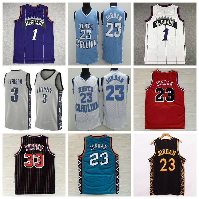 NCAA Men 1 McGrady كرة السلة جيرسي نورث كارولينا القطران الكعوب مايكل 23 فينس 15 كارتر تريسي 33 بيبن الفانيلة