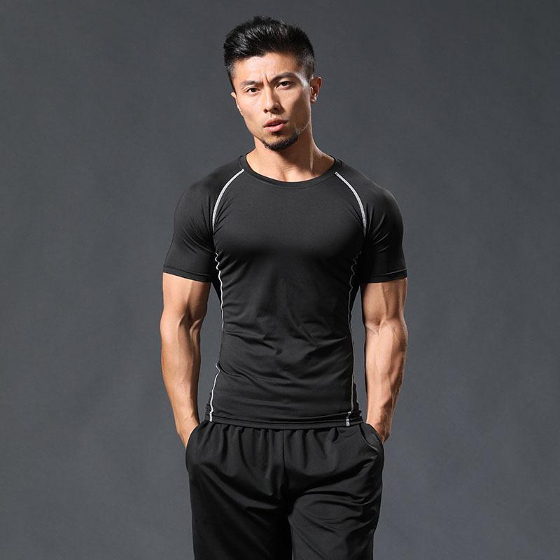 Pure CottyQuick Fitness camiseta para hombres deportes profesional manga corta secado verano transpirable alto elástico cesterbal