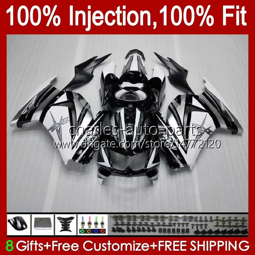 Iniezione per Kawasaki Ninja ZX250R EX250 2008 2009 2010 2011 2012 13hc.10 Silvery Black Ex250R ZX-250R ZX250 ZX 250R 08 09 10 11 12 Fairing