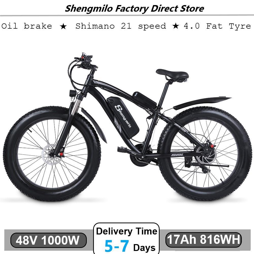 Shengmilo MX02S الكهربائية 1000W الدراجة الجبلية 17AH 48 فولت ليثيوم أيون مدينة الدهون الإطارات دراجة الإلكترونية دراجة شاطئ كروز للجنسين