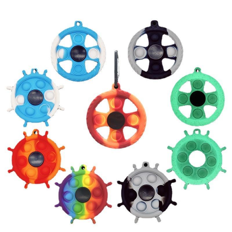 Fidget Spinner Push Bubble 자이로 장난감 발광 실리콘 설치류 키 체인 감압 장난감 간단한 딤플 손가락 회전 탑 스트레스 릴리버