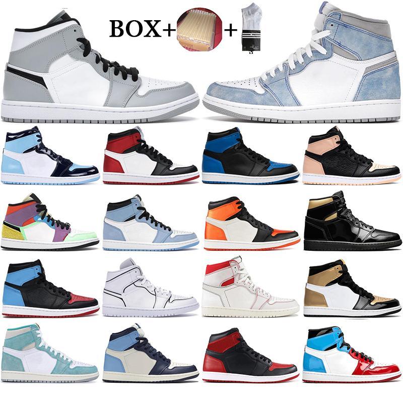 مع مربع 2021 رجل 1 عالية og أحذية كرة السلة 1 ثانية المحظورة جامعة الأزرق الحرباء hyper الملكي الأعلى 3 UNC Orange Sports Sneakers 36-46