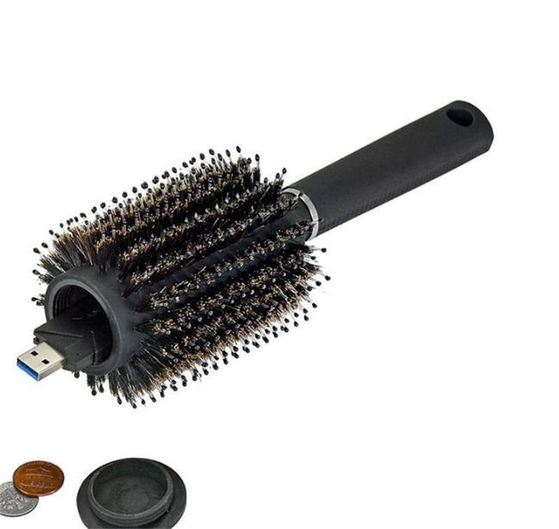 Haarbürste schwarzer Stash Safe Ablenkung geheime Sicherheit Haarbürste versteckte Wertgegenstände Hohlbehälter für Home Security Aufbewahrungsboxen 259 V2