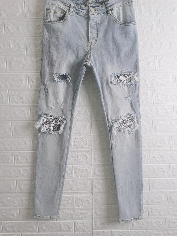 21ss дизайн мужской дизайнерской тонкой ногой джинсы гофрированные слеза джинсовые брюки мода клубная одежда для мужского хип-хопа тощий джинс размер 28-36