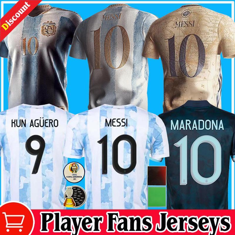 Retro 1986 Argentina Diego Maradona Futebol Jerseys Messi Dybala 2021 2022 COPA América Comemorar Camiseta Jogador Fãs Versão 20 21 22 Crianças Futebol Camisas