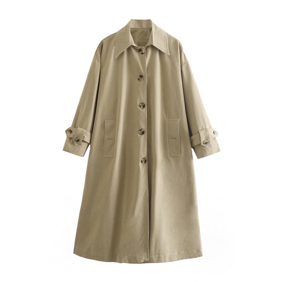 Весна женская траншея кнопка поворотный воротник с длинным рукавом негабаритные шикарные леди мода повседневная одежда 210517
