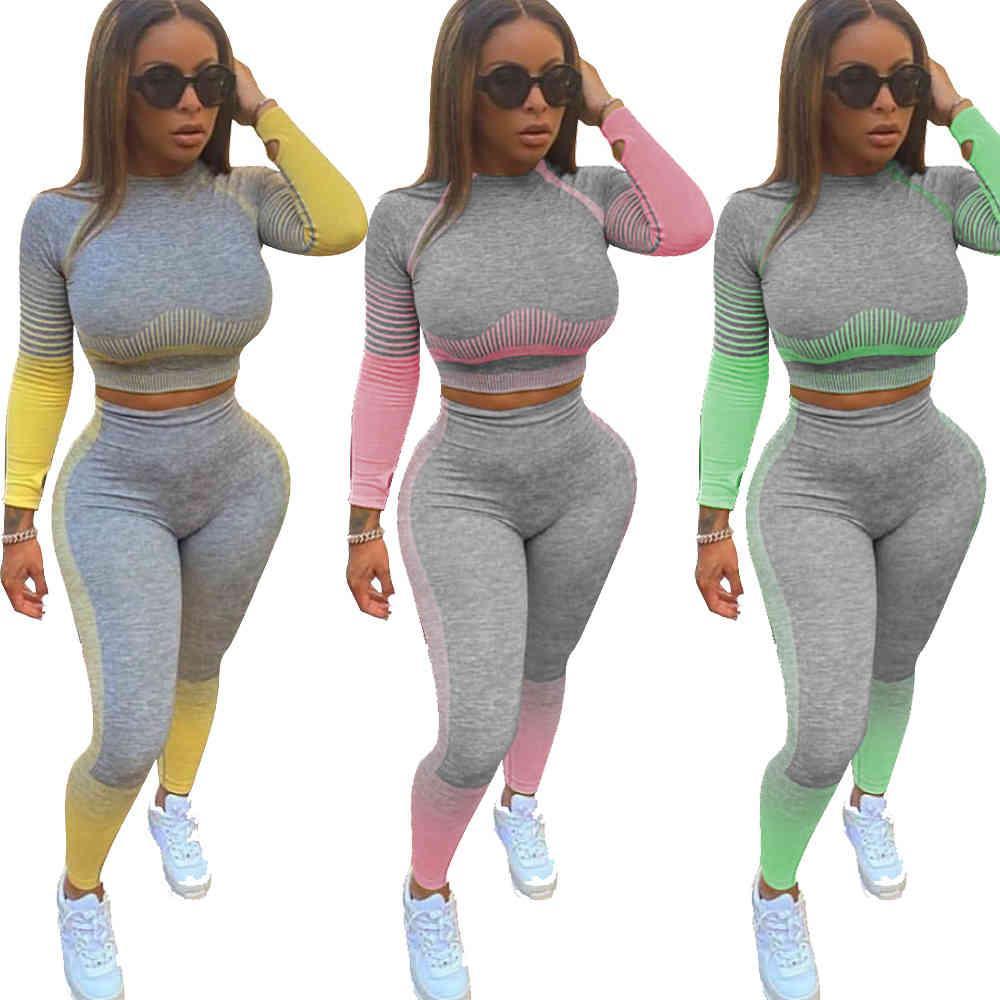 Femmes 2 pièces TrackSuit à manches longues Top et pantalon Fitness Fitness Cuisson Jogger Deux pièces Ensemble Tenues de ressort 2021