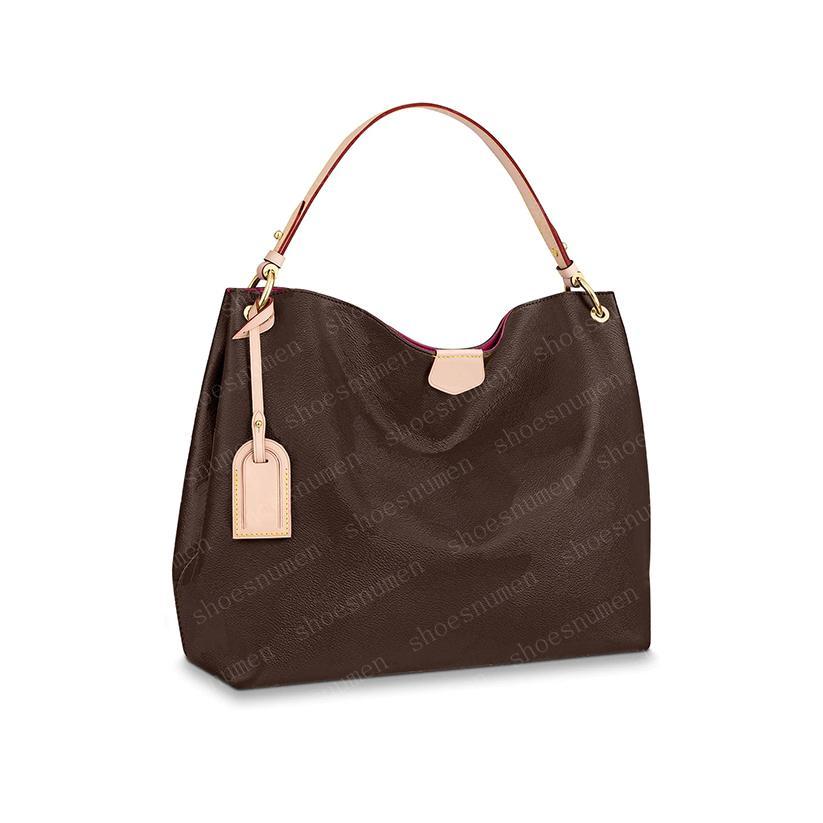 حقيبة يد حقيبة حمل حقائب اليد حقائب الكتف المرأة حقيبة المرأة المحافظ البني الجلود مخلب الأزياء محفظة كبيرة الحجم GM40CM / MM36CM 43703 # BA01-40