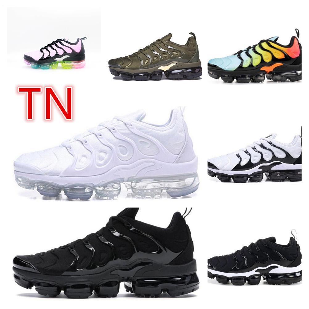 2021 남자 TN Plus 여성을위한 러닝 신발 전기 금속 골드 트리플 화이트 블랙 미어지 파우더 육군 녹색 쿠션 스포츠 운동화 트레이너