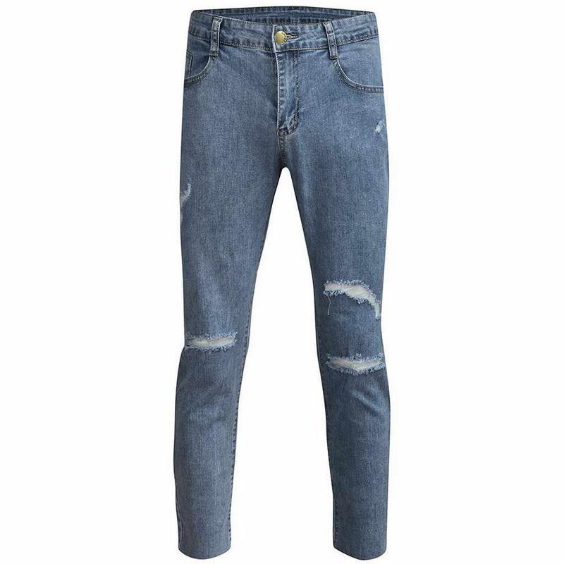 Herrenhose Shujin Geschredderte Füße mit Stretch Denim Hohe Qualität Casual Motorrad Jeans 2021 Mode Reißverschluss