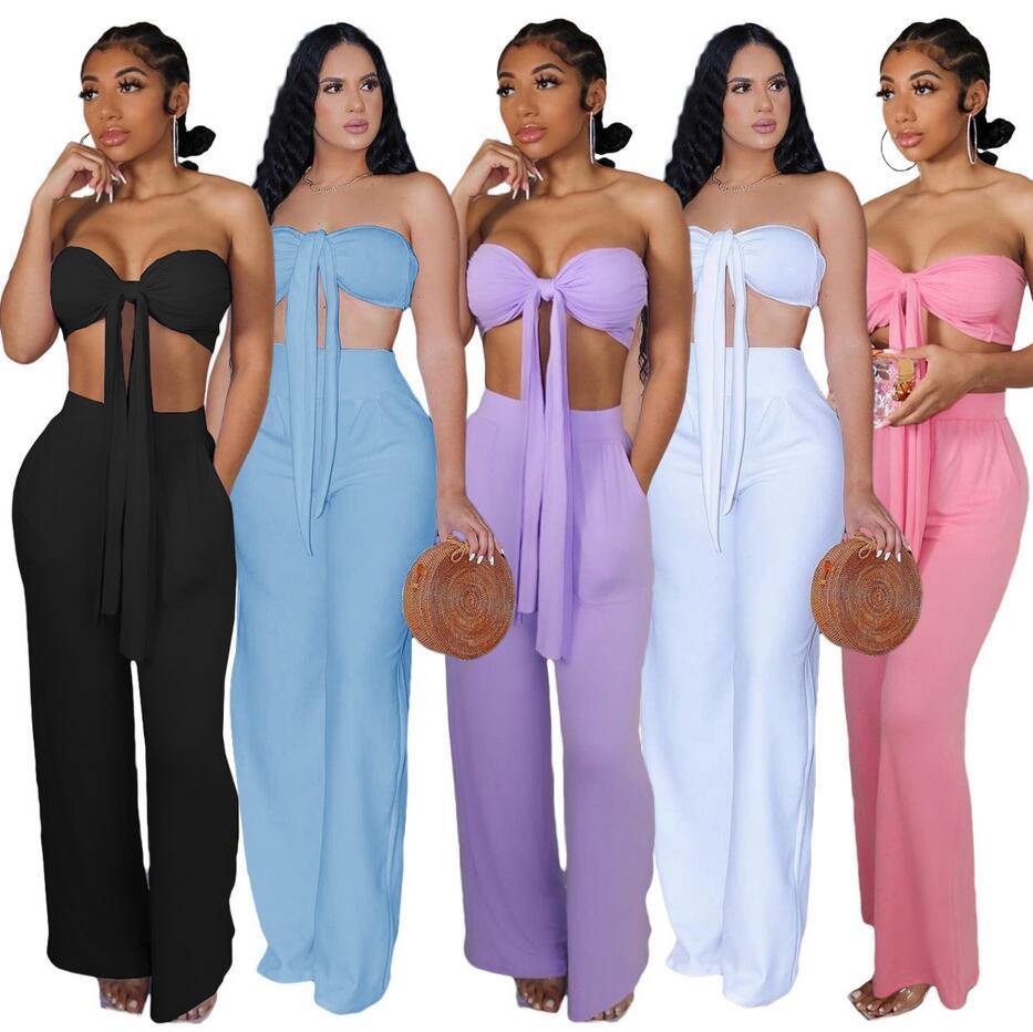European and American Women's Two Piece Pants Fashion Casual Slim Lace-up Wrap Set