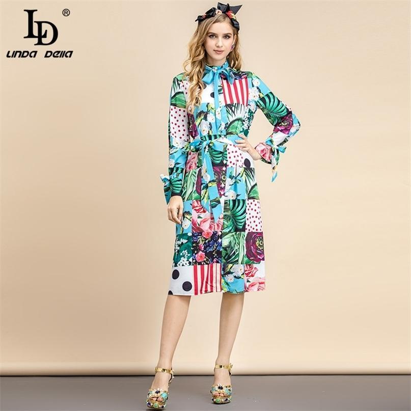 Summer Mode Designer Vintage Midi Robe à manches longues Courroie d'arc élégante Multicolore Floral Imprimer Vacances 210522
