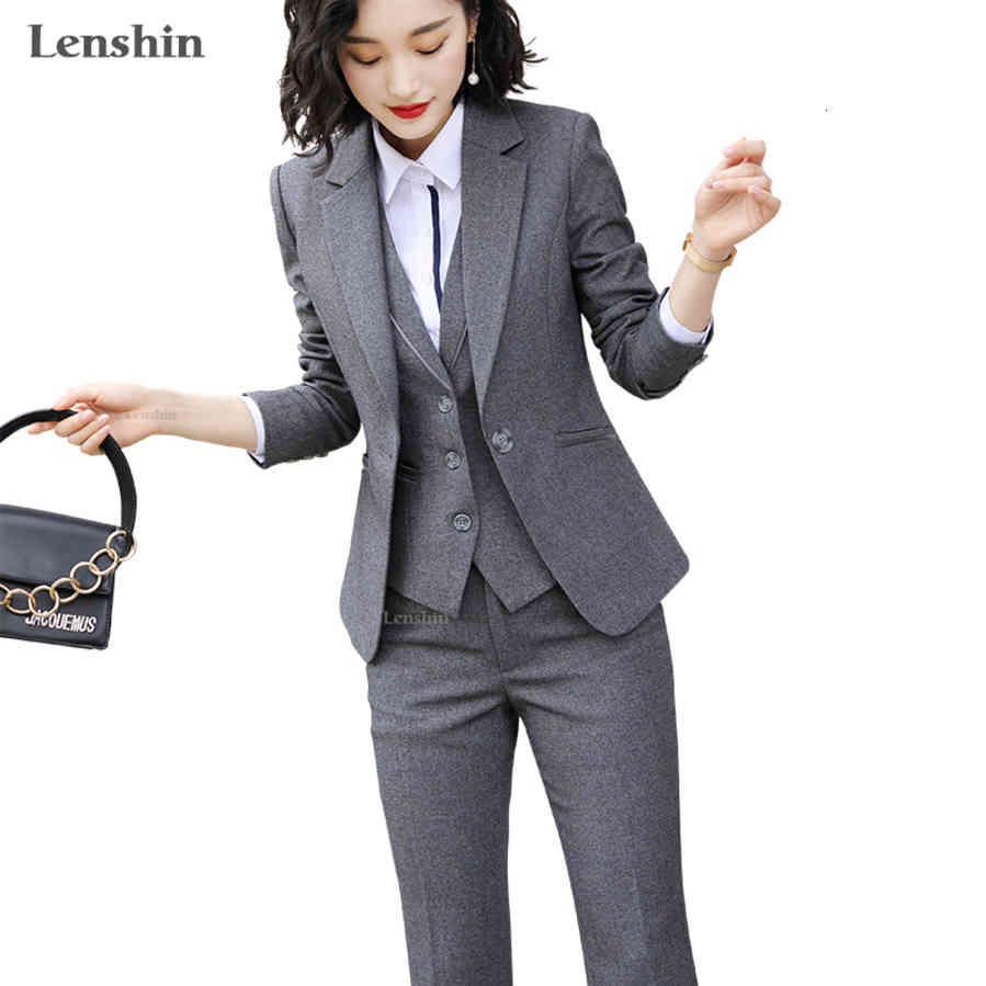 Lenshin Qualität Anzug Set Office Damen Arbeit Tragen Frauen Ol Hose Anzüge Formale Weibliche Blazer Jacke Weste Hose 3 Stück