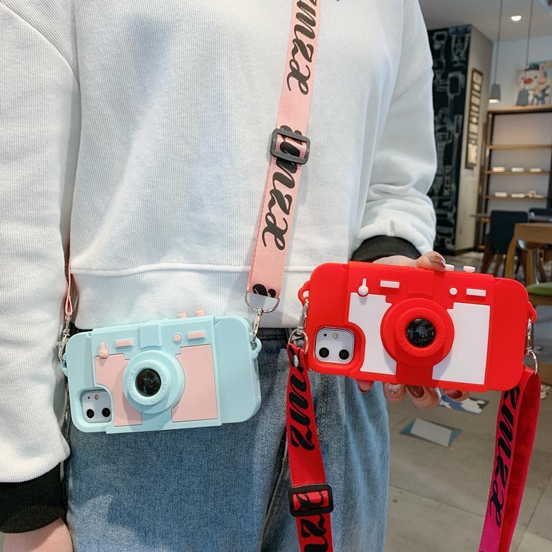 جميل 3d كاميرا لينة سيليكون حزام crossbody حالة الهاتف لآيفون 12 11Pro ماكس 6 ثانية 6 8 7 زائد x xr xs ماكس حالة الهاتف لفون 12
