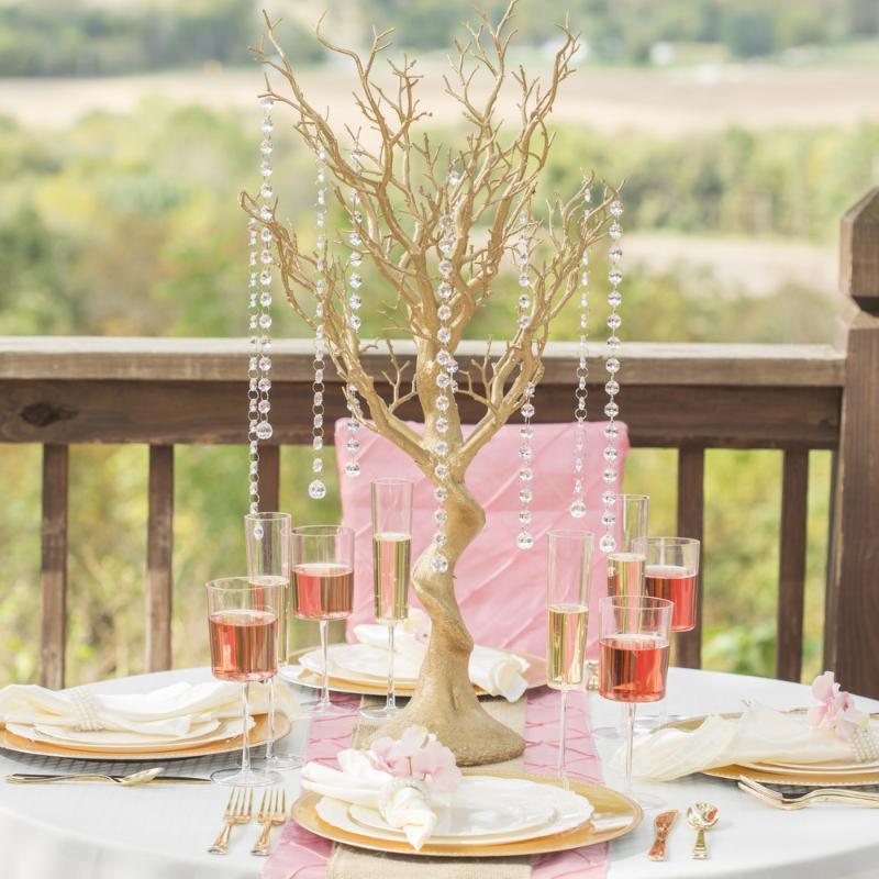 """30 """"Gülüklü Manzanita Centerpiece Ağacı Düğün Parti Olay Masa Üst Dekorasyon Ile 8 adet Akrilik Zincirler Dekoratif Çiçekler Çelenkler"""