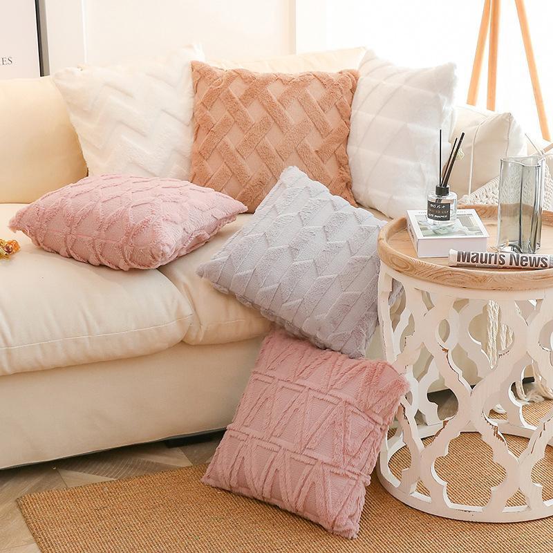 Cuscino elegante peluche con federa di colore solido divano posteriore cuscino cuscino per soggiorno affidabile morbido lavabile vita