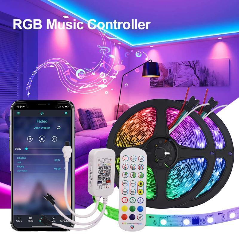 블루투스 RGB LED 스트립 WS2811 12V 빛 개별적으로 어드레싱 가능한 유연한 리본 테이프 장식 원격 컨트롤러 전원 키트 스트립