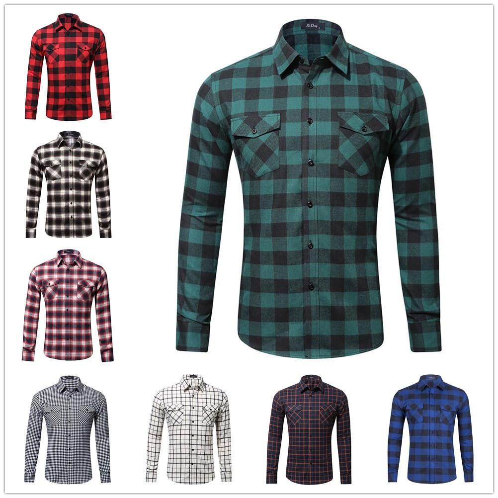 Tamaño de la capa de tela escocesa de franela de algodón camisa de doble bolso para hombre