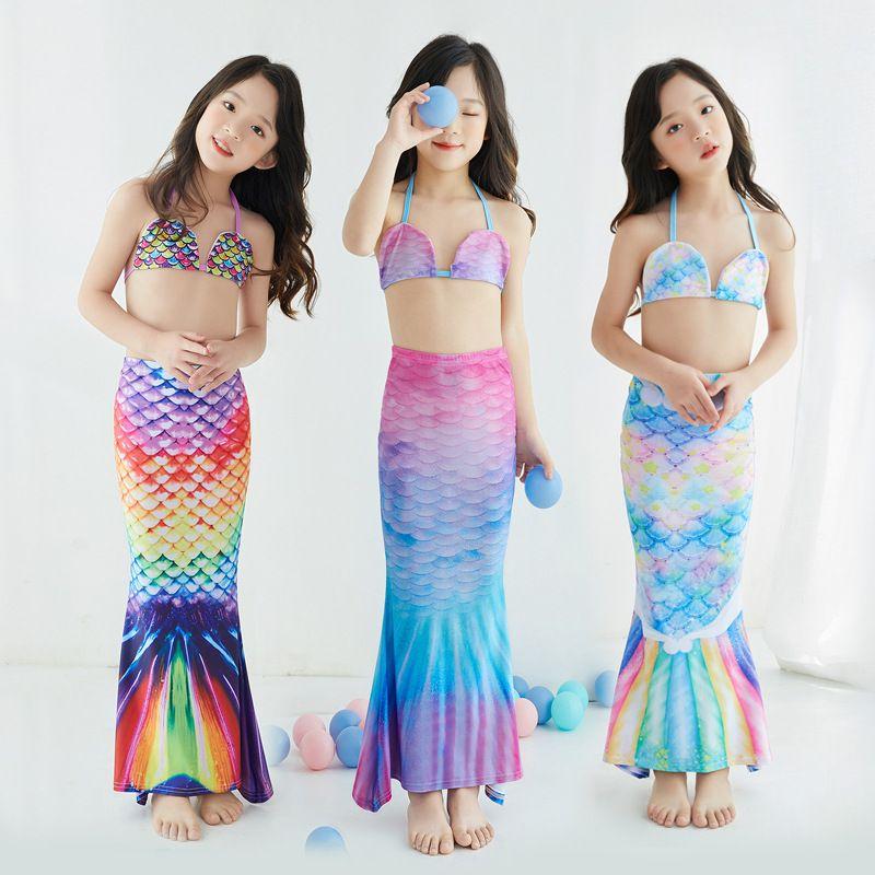 Detaljhandel / grossist barn tjejer två delar sjöjungfru svimbock bikini 2-12y 8 färger barn designer baddräkter simning mode söta badkläder