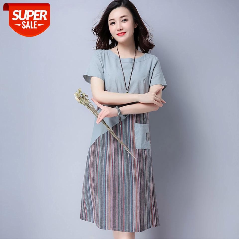 Supermiss mulheres verão manga curta dresses solto plataforma de linho túnica 2020 nova listra casual midi vestido tops com bolsos # xc6i