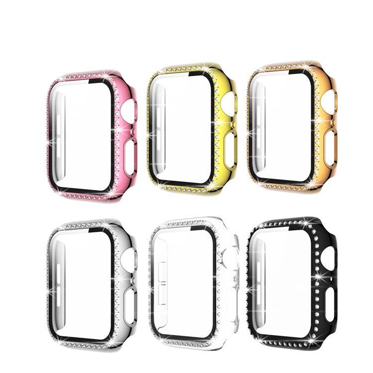 Protetor de tela de vidro Caixa de bling para Apple Watch 6 Capas 44mm 40mm Iwatch 42mm 38mm Diamond Cover Acessórios com caixa