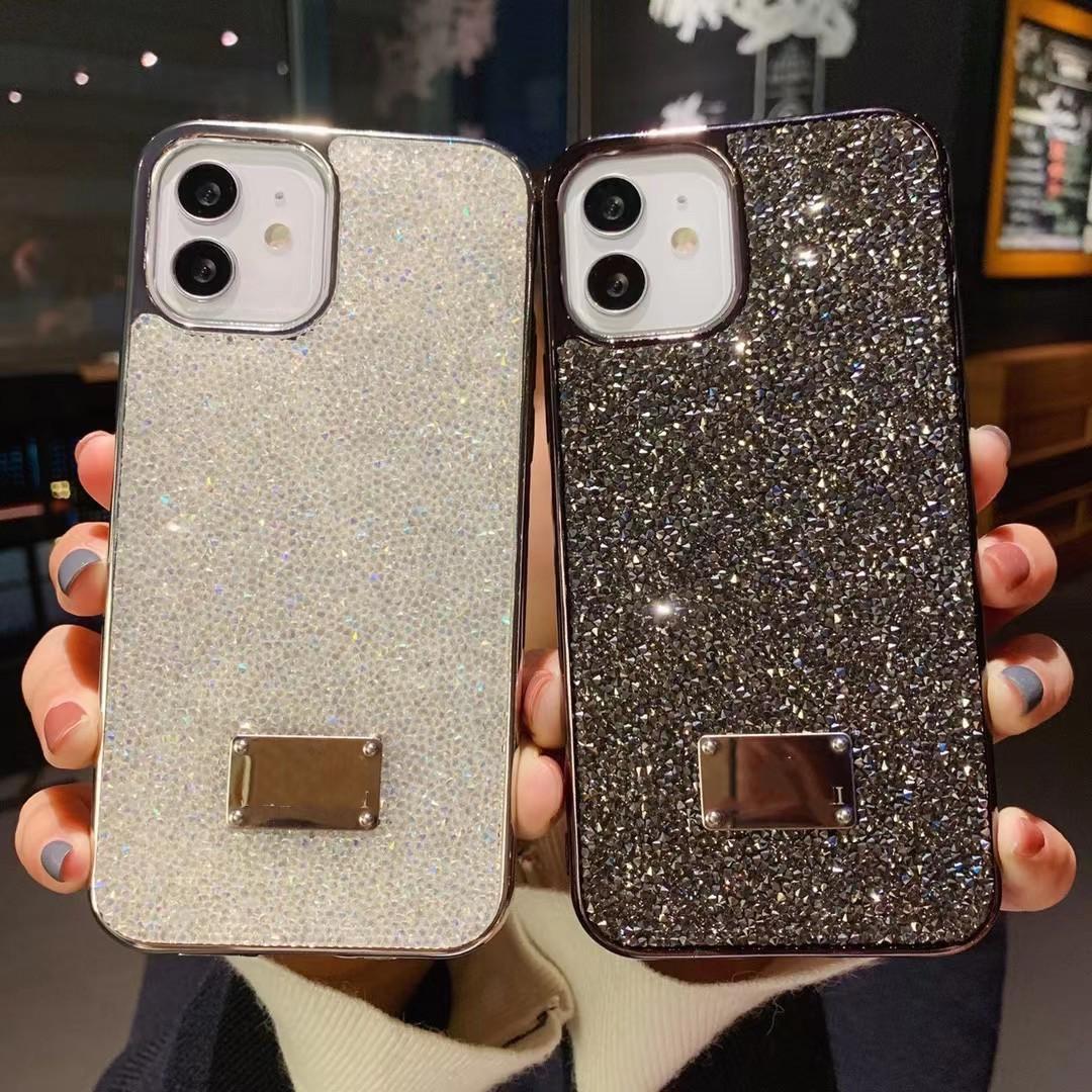 Bling Bling BLING Coque de téléphone brillant pour iPhone 12 Diamond Broîning Powder Black Edage Selling Hot Selling Nouveau Cas d'arrivée