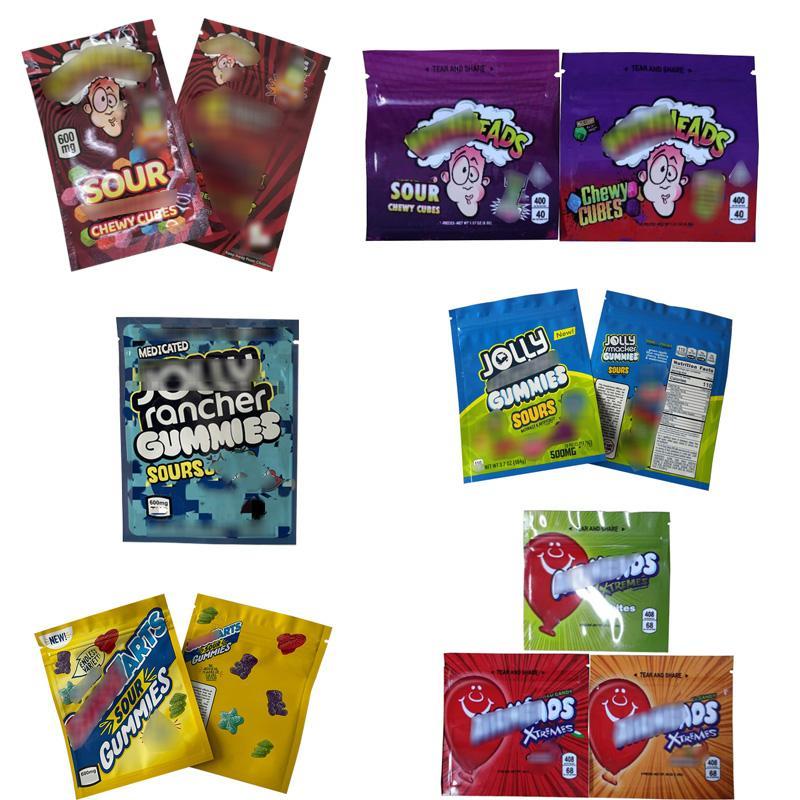 Jolly r * ncher 600mg w * rheads a * rheads gummi caramelle mylar bag vuota edibles imballaggio cubetti gommosi