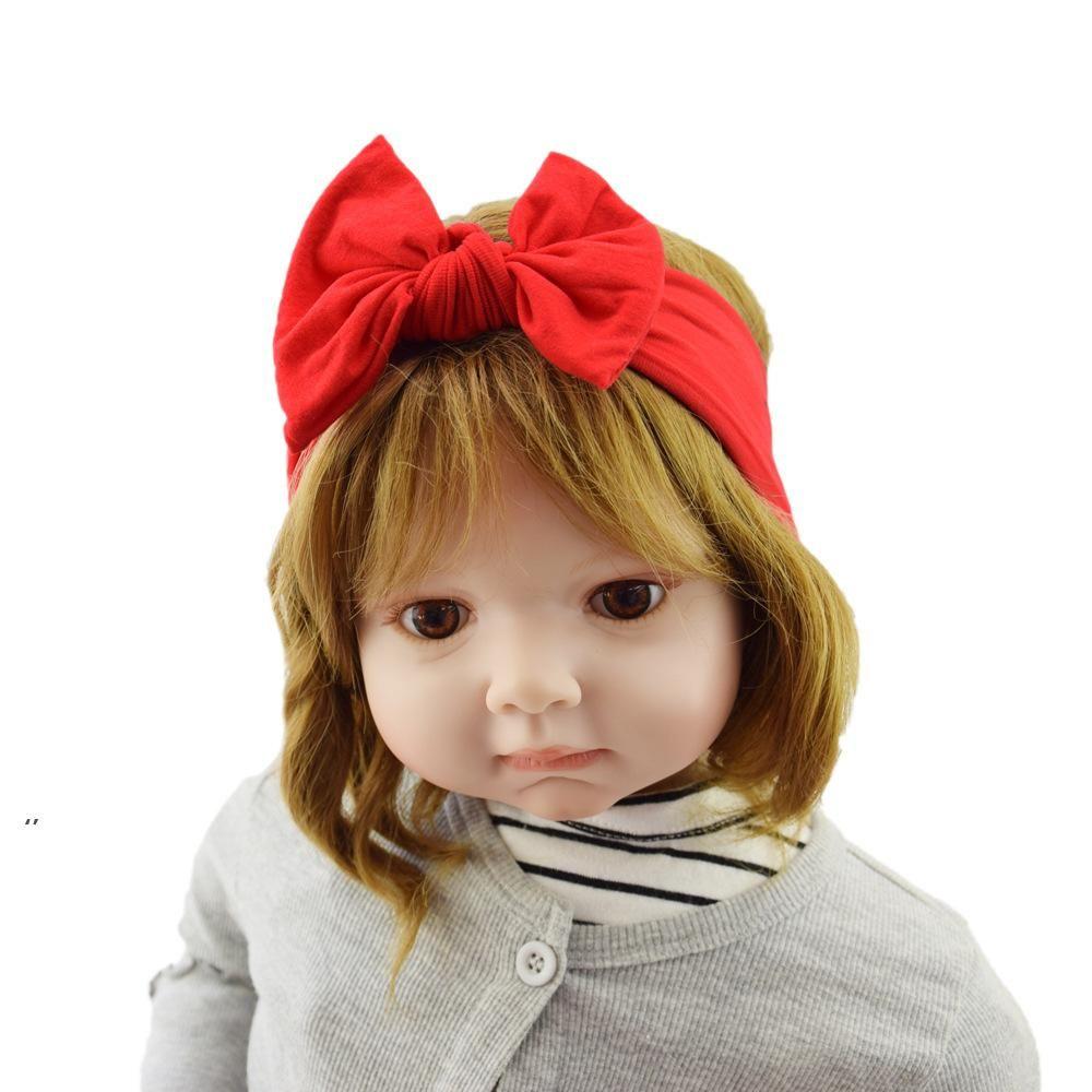 아기 헤어 액세서리 나일론 Bowknot 보헤미안 어린이 헤어 밴드 슈퍼 부드러운 넓은 머리띠 유아 솔리드 컬러 탄성 헤어 밴드 OWB9012