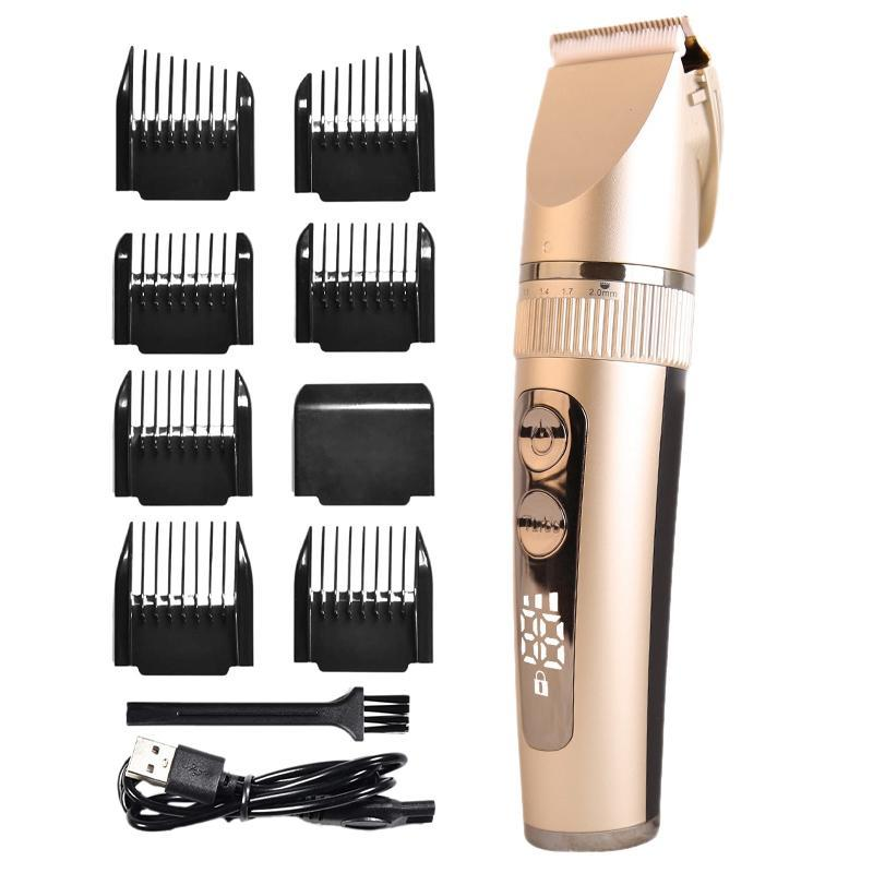 Hair Clippers Professional For Stylish Mens Cutting Kit,Professional Trimmer Waterproof With Display 6 Guide Combs