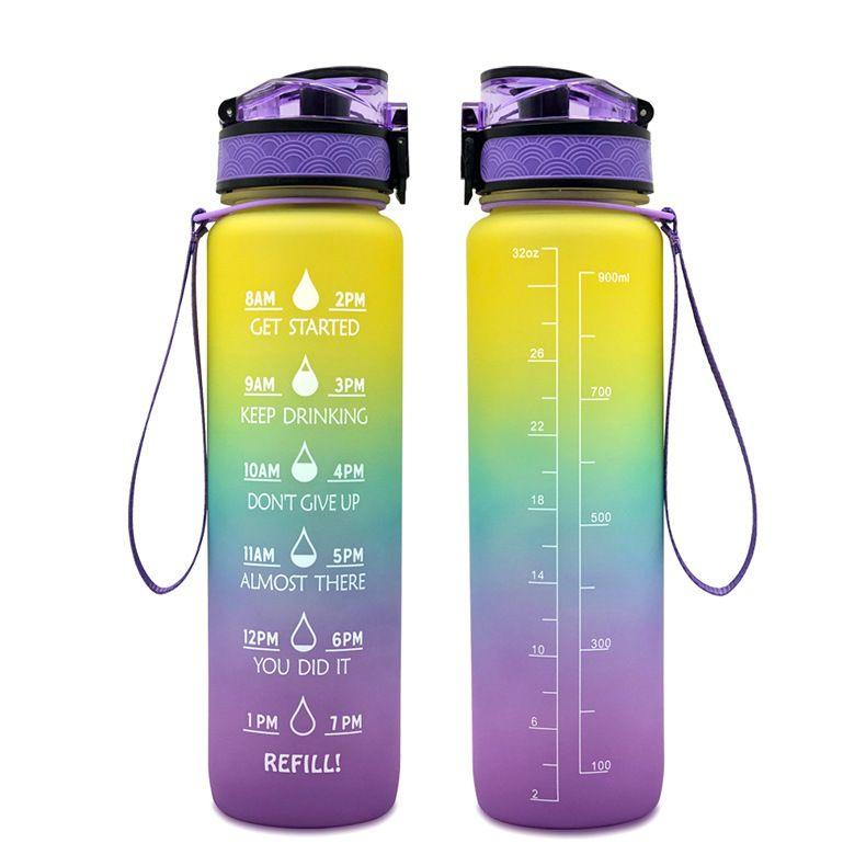 동기 부여 타임 마커가있는 대형 물병 32oz / 1000ml 큰 용량 BPA 피트니스 체육관 및 야외 스포츠를위한 무료 비 독성