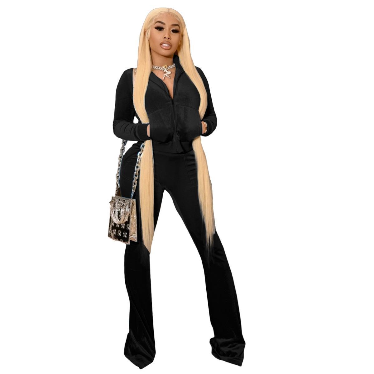 Kadınlar için Kıyafet Parçası Seti Açın Yaka Coat + Pantolon Tam Kollu Sportsuit Bahar Giysileri Rahat Veet İki