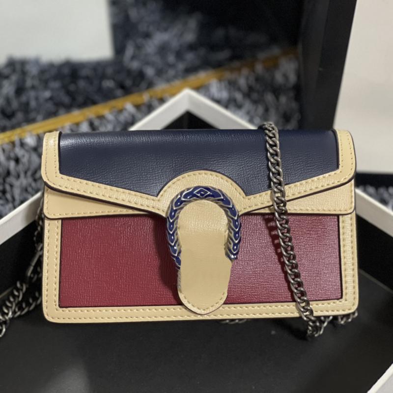 2021 Diseñadores Bolsas Mini Bolsa de Hombro Bolsa Real Cuero Top Bolso de la dama con llavero Pone Box